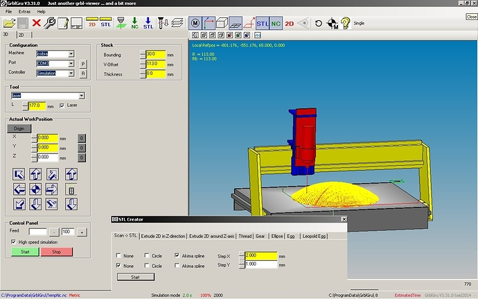 GrblGru: Free CAM program with 3D simulation for mills and lathes